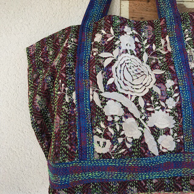 PURPLE HAZE RECYCLED KANTHA TOTE
