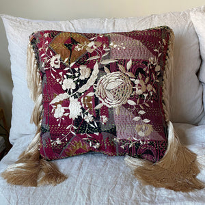 RECYCLED SILK KANTHA CHERRY BLOSSOM EMBROIDERED CUSHION WITH TASSELS (11)
