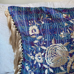 RECYCLED SILK KANTHA CHERRY BLOSSOM EMBROIDERED CUSHION WITH TASSELS (12)