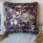 RECYCLED SILK KANTHA CHERRY BLOSSOM EMBROIDERED CUSHION WITH TASSELS (13)