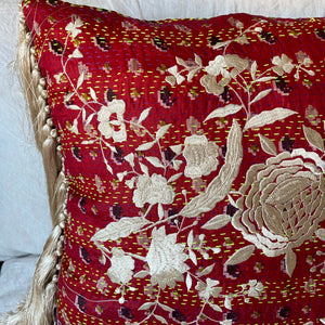 RECYCLED SILK KANTHA CHERRY BLOSSOM EMBROIDERED CUSHION WITH TASSELS (14)