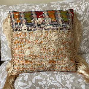 RECYCLED SILK KANTHA CHERRY BLOSSOM EMBROIDERED CUSHION WITH TASSELS (20)