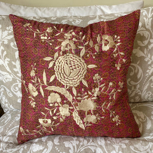 RECYCLED SILK KANTHA CHERRY BLOSSOM EMBROIDERED CUSHION (25)