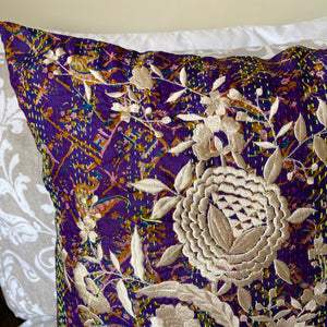 RECYCLED SILK KANTHA CHERRY BLOSSOM EMBROIDERED CUSHION (26)