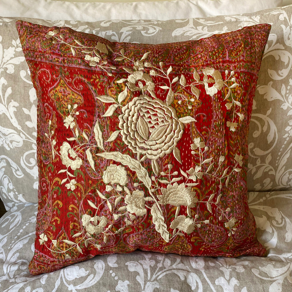 RECYCLED SILK KANTHA CHERRY BLOSSOM EMBROIDERED CUSHION (28)