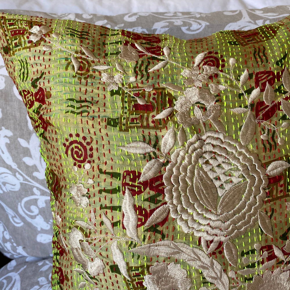 RECYCLED SILK KANTHA CHERRY BLOSSOM EMBROIDERED CUSHION (30)