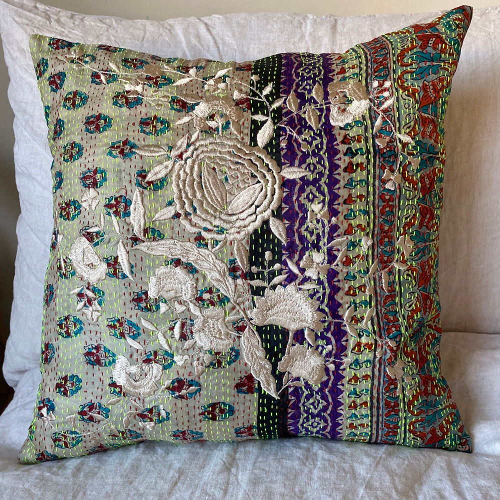RECYCLED SILK KANTHA CHERRY BLOSSOM EMBROIDERED CUSHION (6)