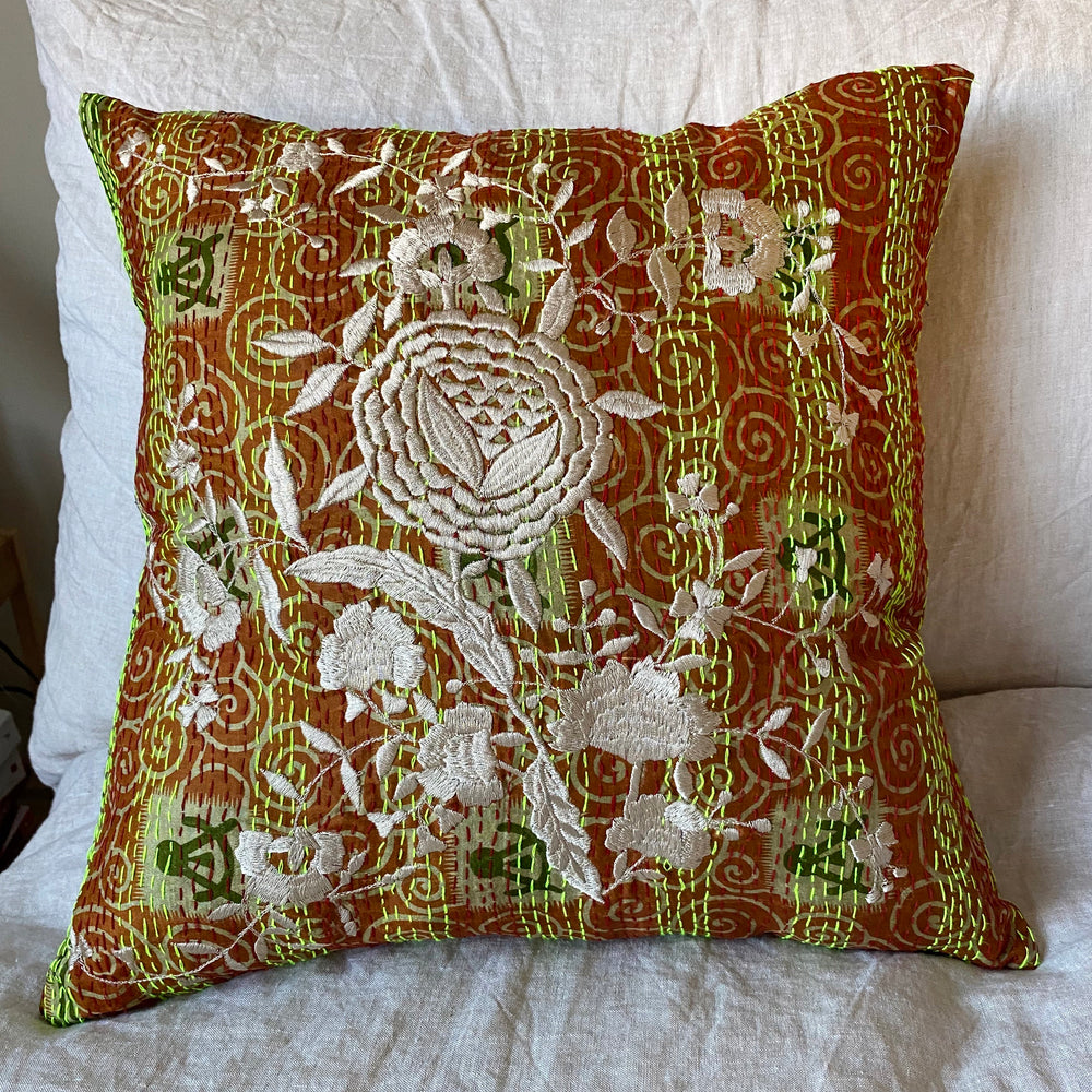 RECYCLED SILK KANTHA CHERRY BLOSSOM EMBROIDERED CUSHION (8)