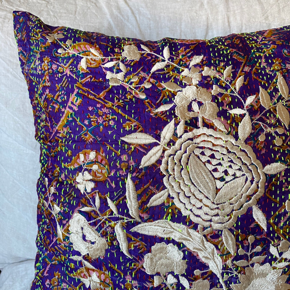 RECYCLED SILK KANTHA CHERRY BLOSSOM EMBROIDERED CUSHION (9)