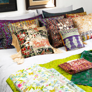 RECYCLED SILK KANTHA CHERRY BLOSSOM EMBROIDERED CUSHION (41)