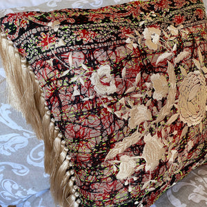 RECYCLED SILK KANTHA CHERRY BLOSSOM EMBROIDERED CUSHION WITH TASSELS (33)