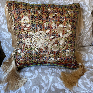 RECYCLED SILK KANTHA CHERRY BLOSSOM EMBROIDERED CUSHION WITH TASSELS (34)