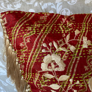 RECYCLED SILK KANTHA CHERRY BLOSSOM EMBROIDERED CUSHION WITH TASSELS (36)
