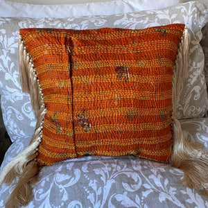 RECYCLED SILK KANTHA CHERRY BLOSSOM EMBROIDERED CUSHION WITH TASSELS (37)