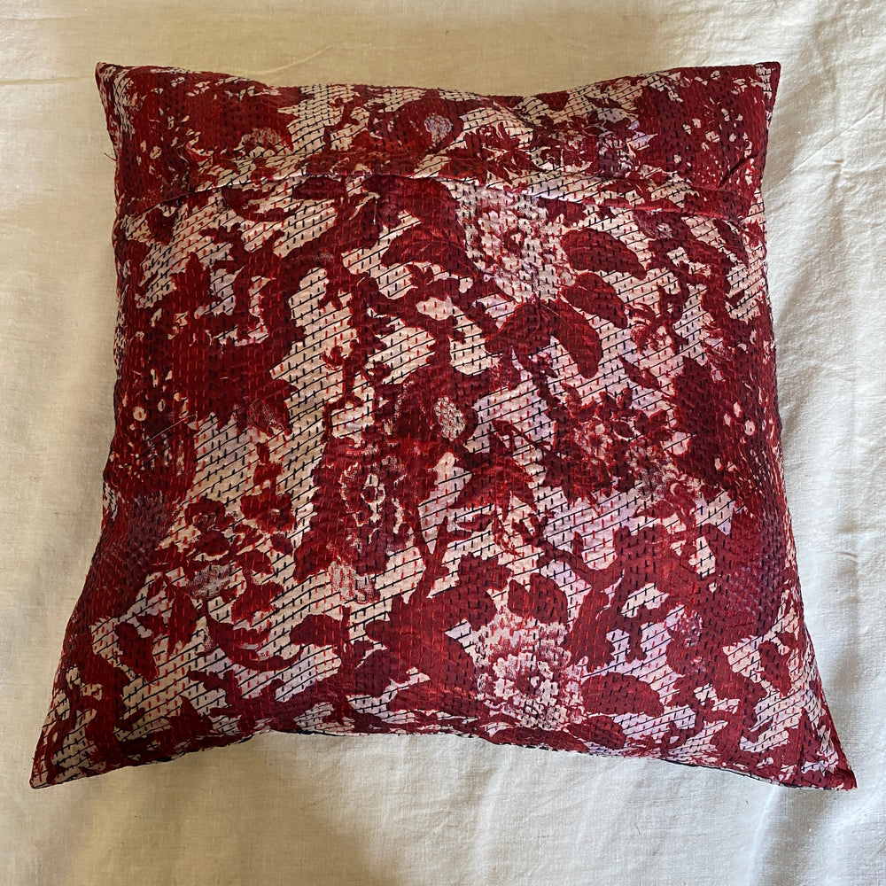 recycled silk kantha cherry blossom cushion
