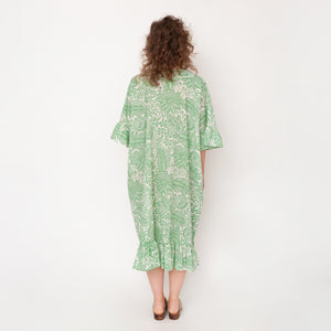 RHADA ORGANIC COTTON DRESS IN GREEN