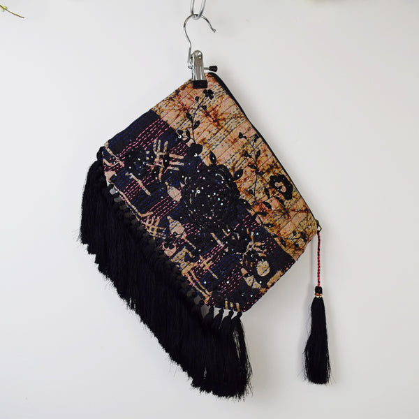 RIVIERA EMBROIDERED KANTHA CLUTCH WITH TASSELS