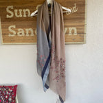 SAKSHI OVERSIZED WOOL SCARF WITH VINTAGE PINK EMBROIDERY