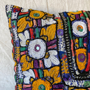 SMALL VINTAGE AFGHAN MIRROR CUSHION