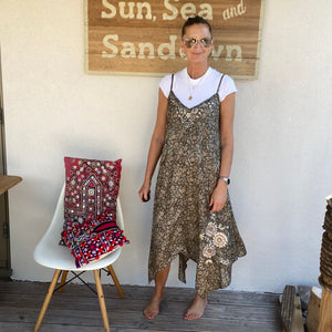 VIRGINIA TAYLOR RECYCLED SILK EMBROIDERED DRESS
