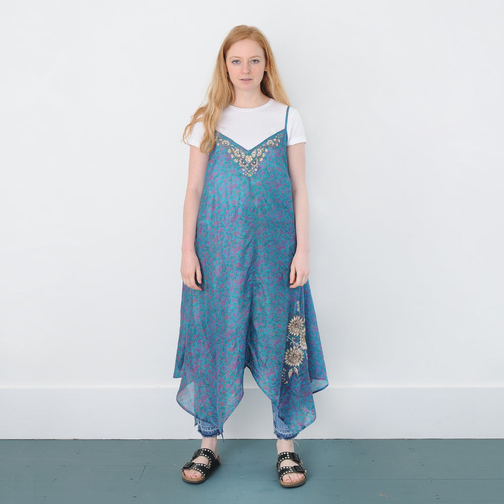 VIRGINIA JANEY RECYCLED SILK EMBROIDERED DRESS