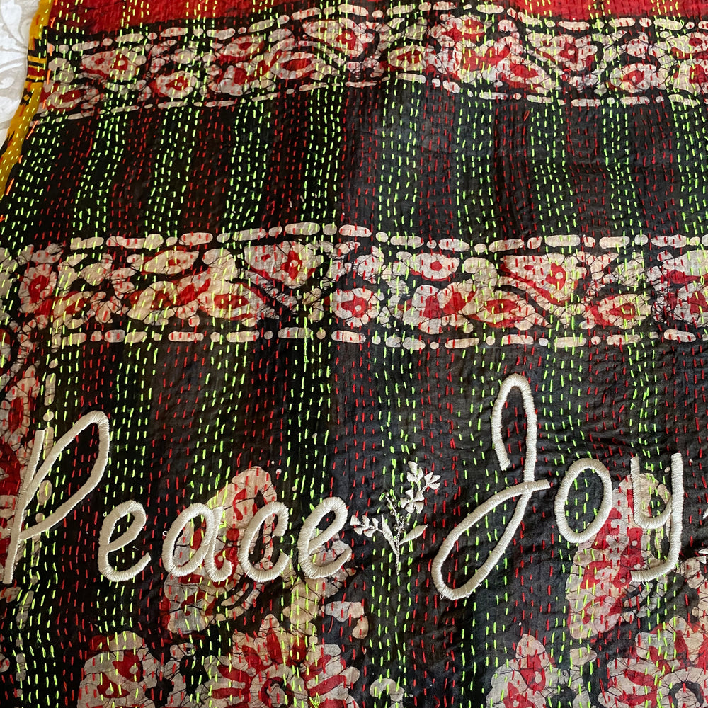 WHITNEY EMBROIDERED 'Peace & Love' KANTHA SCARF