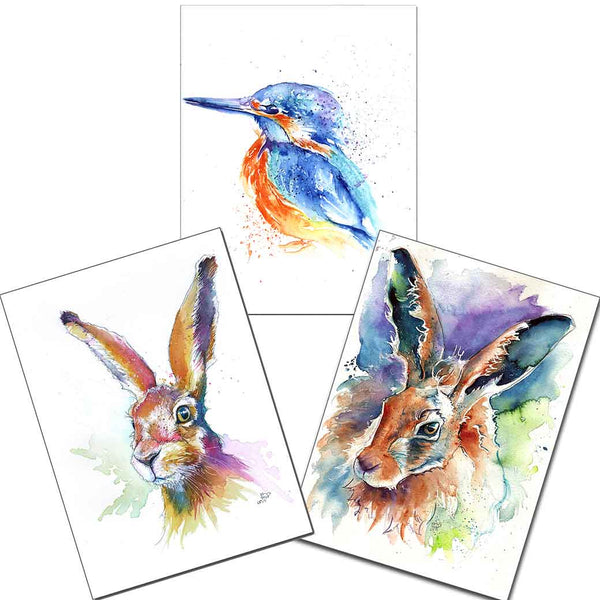 "3 x Mini Prints 5"" x 7"" Jasper & Hartley Hares & Kingfisher"