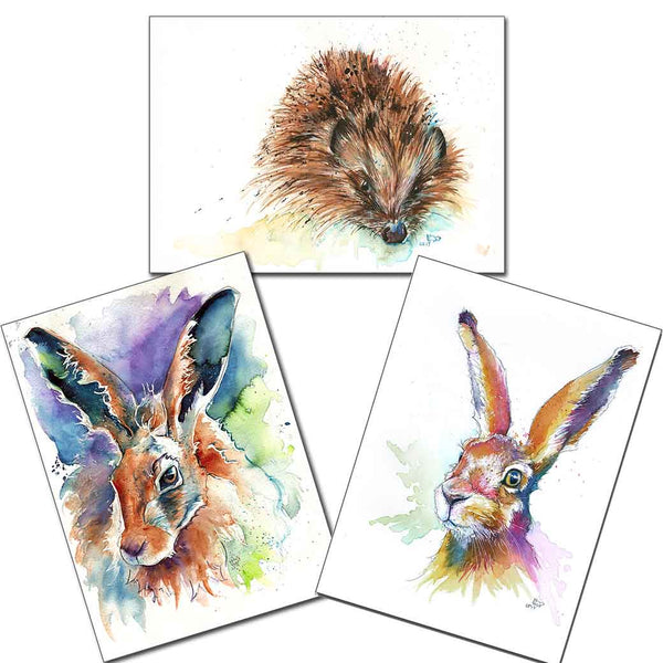 "3 x Mini Prints 5"" x 7"" Jasper & Hartley Hares & Skittles Hedgehog"