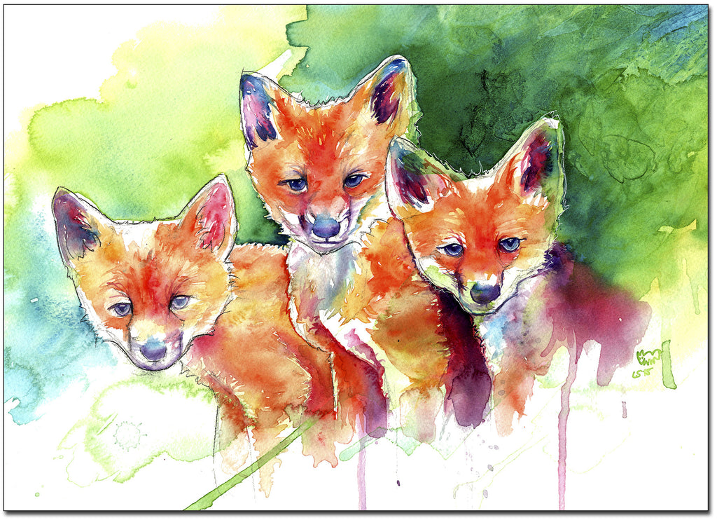 Three Baby Foxes Print