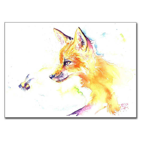 "Fox with Bee 5"" x 7"" Print (13cm x 18cm)"