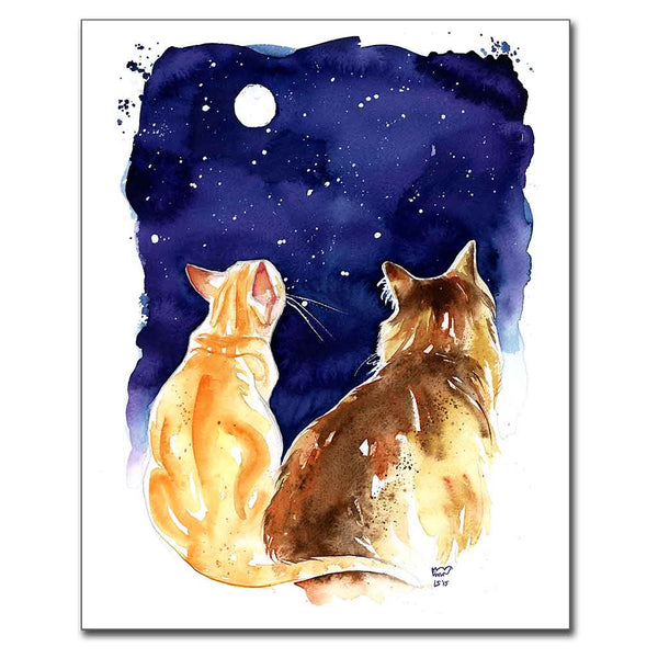 Stargazing Cats Print