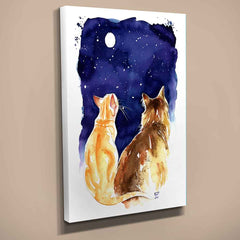 Stargazing Cats Canvas Print
