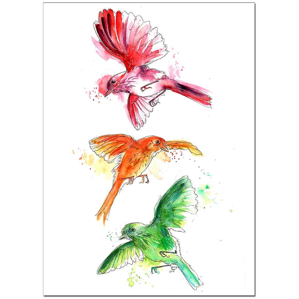 "Three Little Birds 5"" x 7"" Print (13cm x 18cm)"
