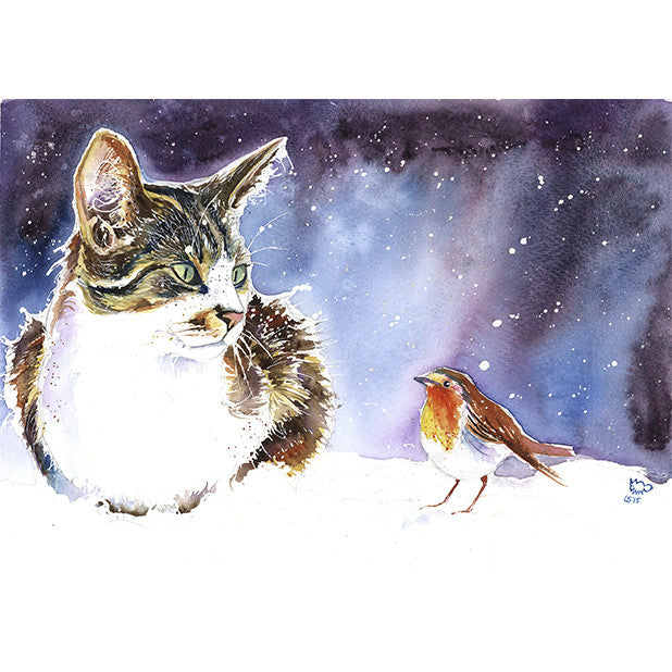 Cat with Robin Christmas Card