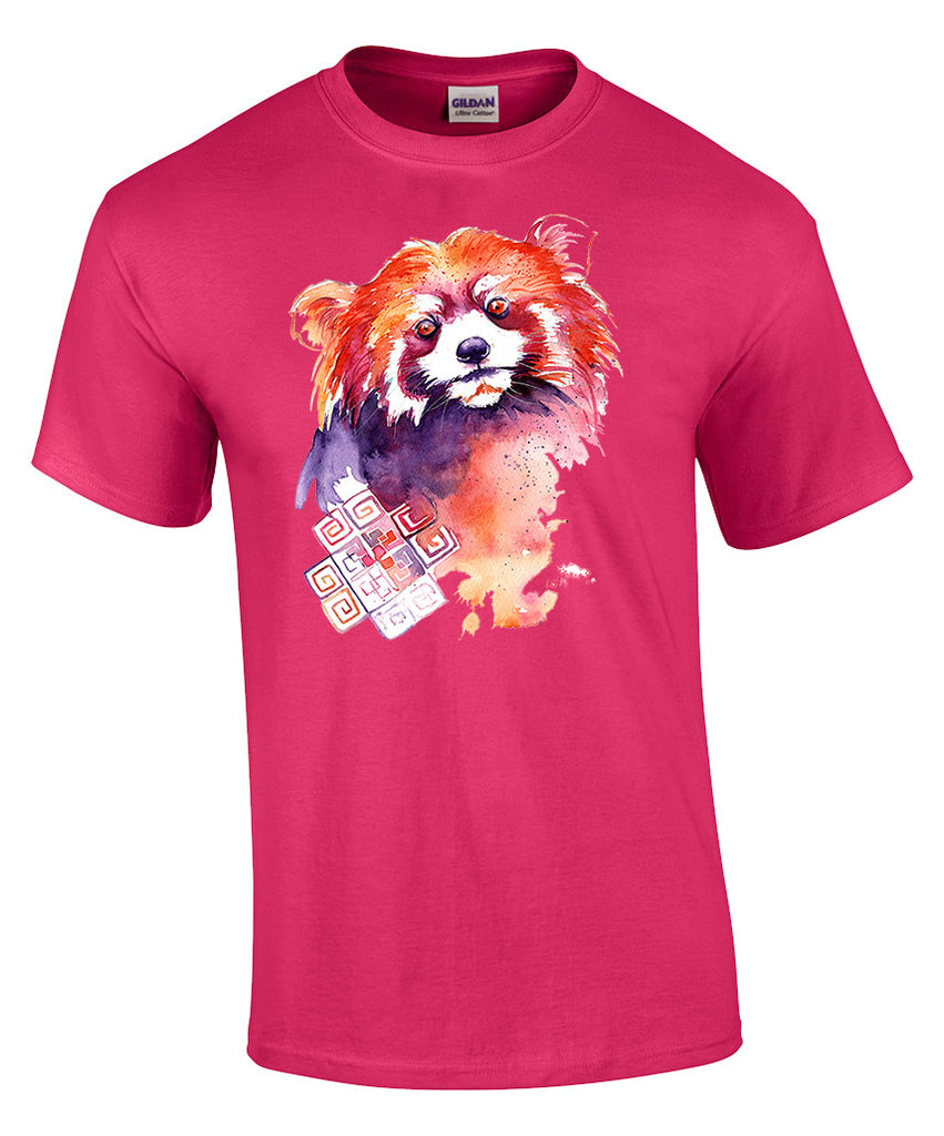 Mens T-shirt with Red Panda Print-Large-Bright Pink