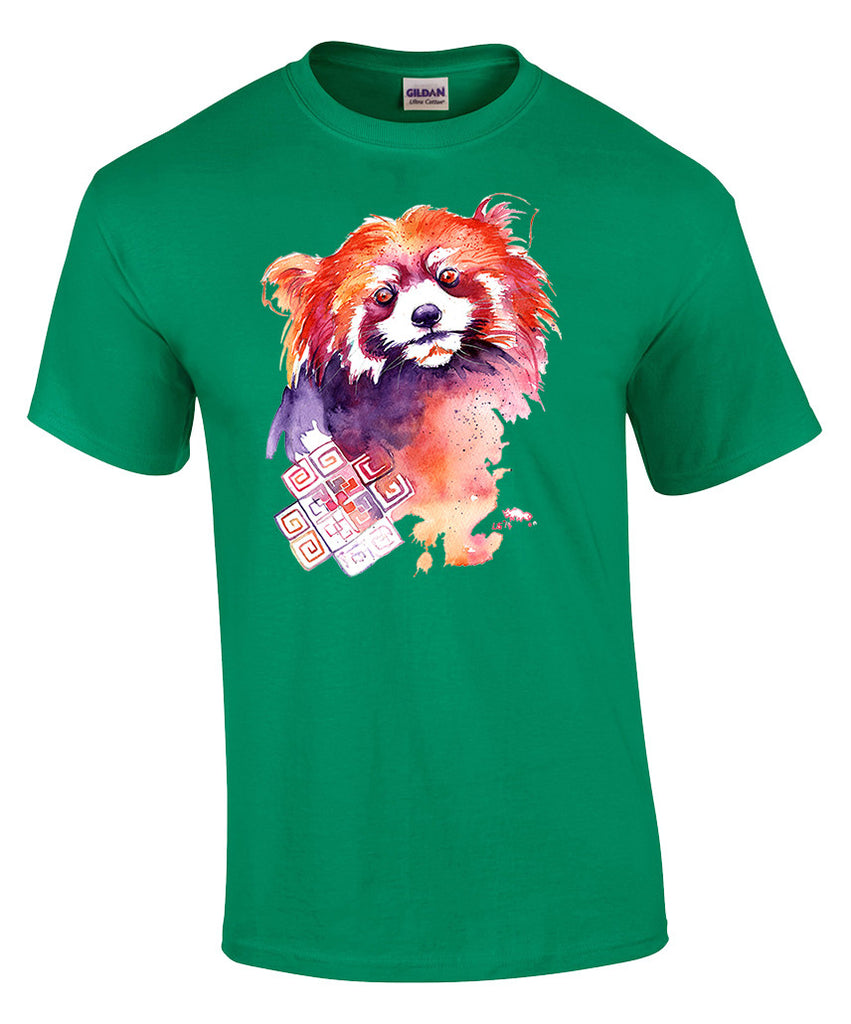 Mens T-shirt with Red Panda Print-XX Large-Green