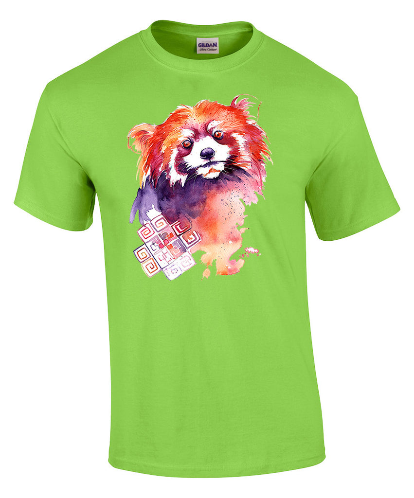 Mens T-shirt with Red Panda Print-Medium-Lime
