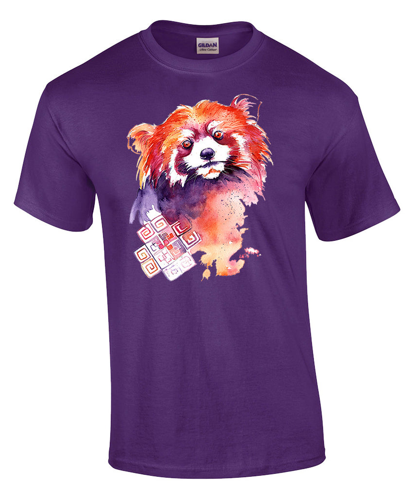 Mens T-shirt with Red Panda Print-Small-Purple