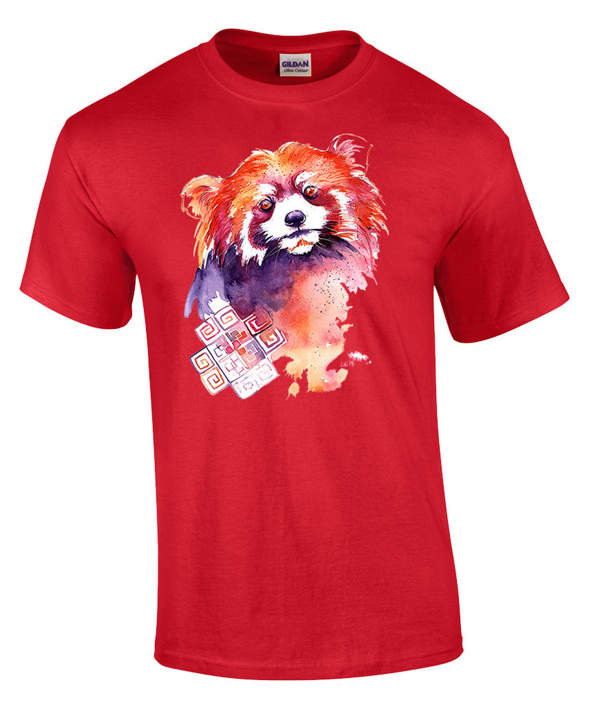 Mens T-shirt with Red Panda Print-Small-Red