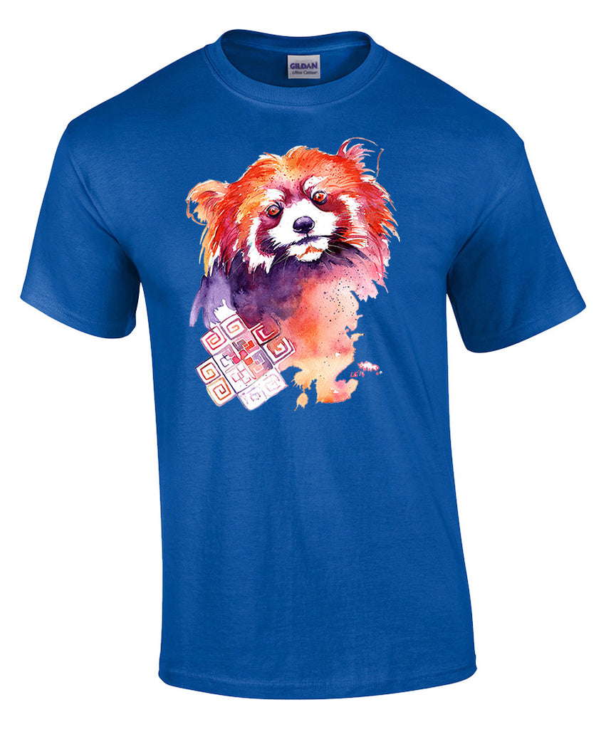 Mens T-shirt with Red Panda Print-Medium-Royal