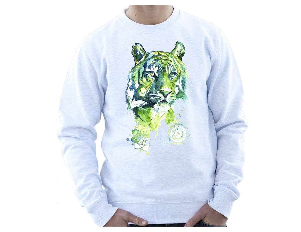 Sweatshirt with Kali Green Tiger Print