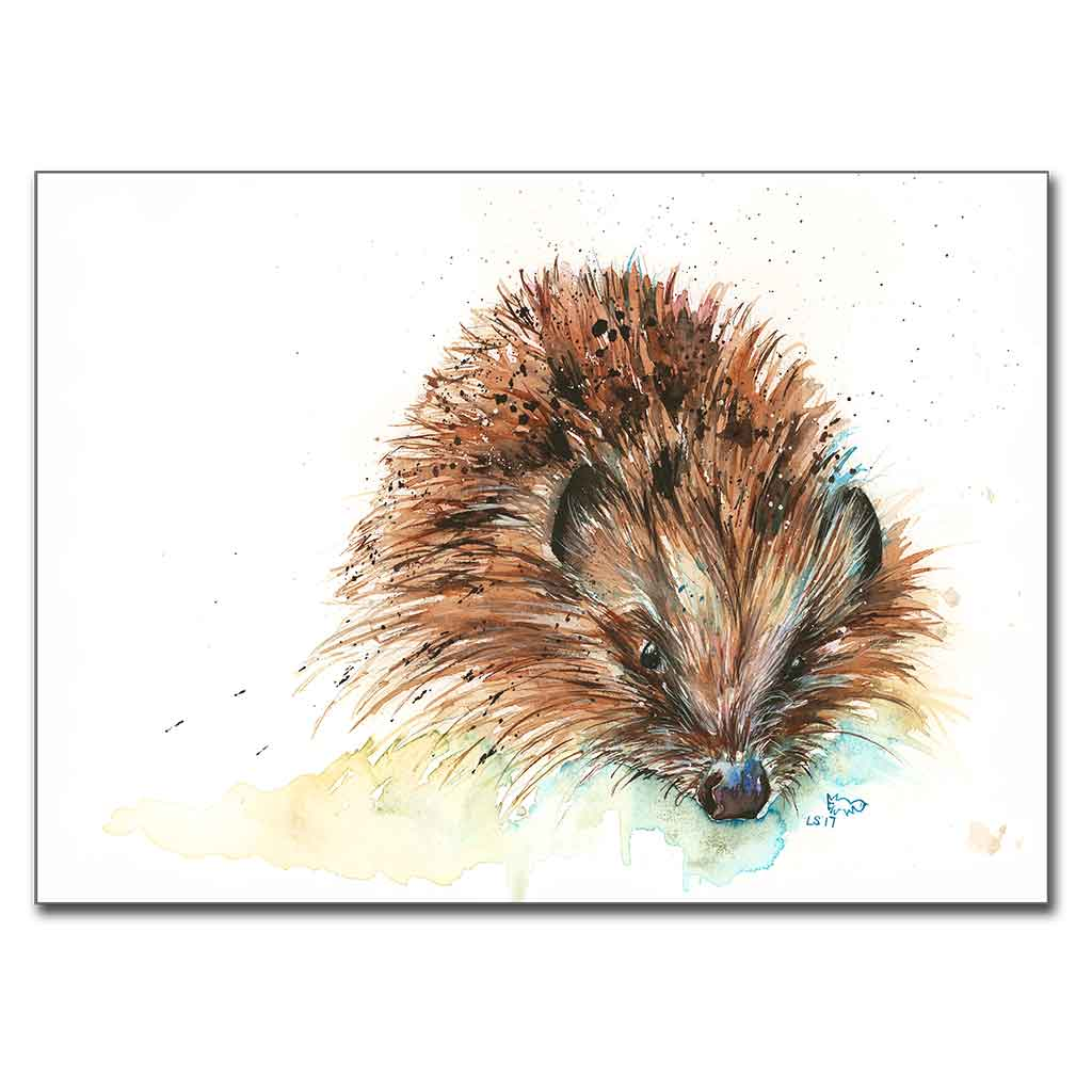 "3 x Mini Prints 5"" x 7"" Hartley Hare, Skittles Hedgehog & Kingfisher"