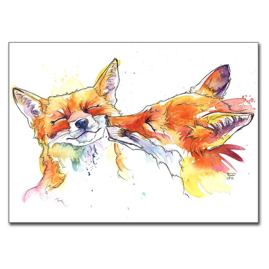 "Smoochy Foxes 5"" x 7"" Print (13cm x 18cm)"