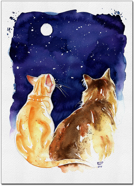 Stargazing Cats Fine Art Print