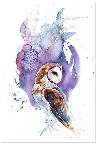 Barn Owl (purple & silver) Print
