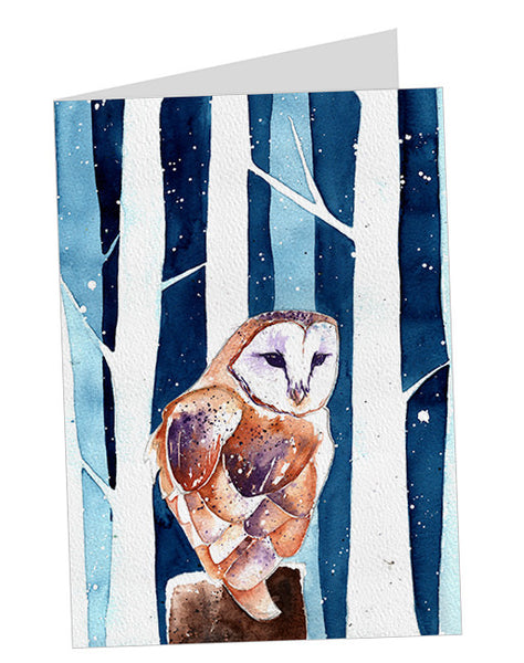 Snowy Barn Owl Christmas Card