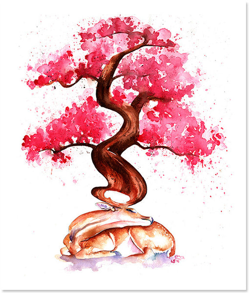 Awakening (Stag and Cherry Blossom Tree) Giclee Print