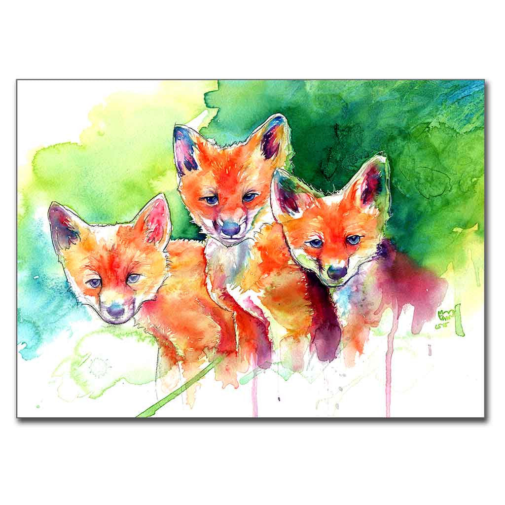 "Three Baby Foxes 5"" x 7"" Print (13cm x 18cm)"