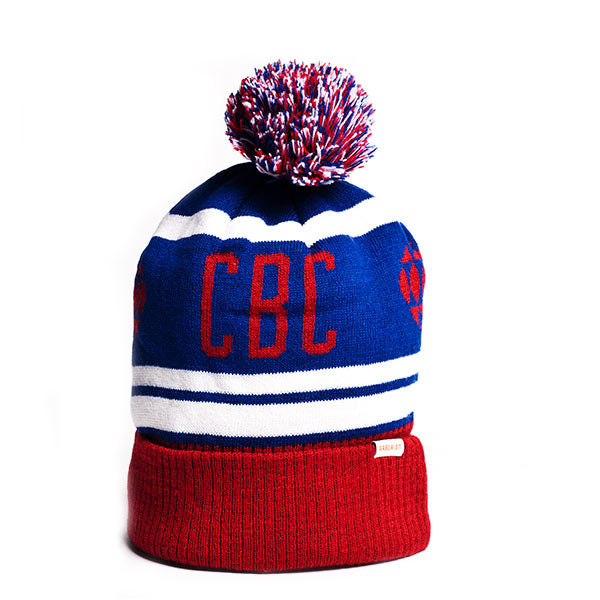 Red, blue and white toque with CBC logo