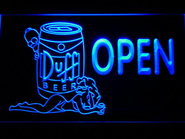 Duff Simpsons Open LED Neon Sign 054 - Blue